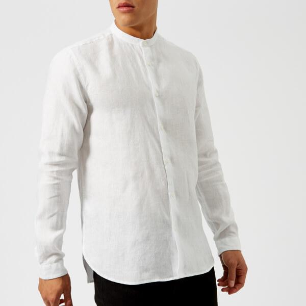 HUGO Men's Eddison Grandad Shirt - White Mens Clothing | TheHut.com