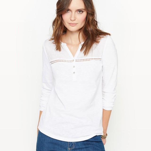 Cotton slub grandad collar t-shirt Anne Weyburn | La Redoute