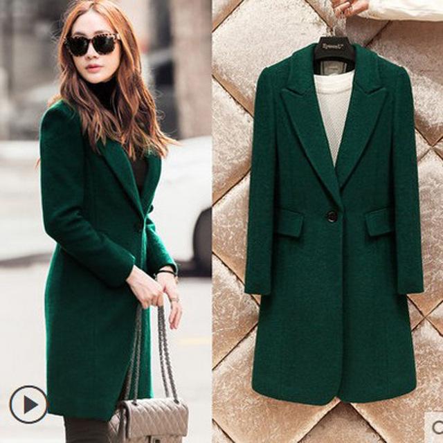 Autumn Winter Fashion Turn down Collar Dark Green Coat Women's