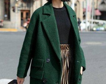 Dark green coat | Etsy