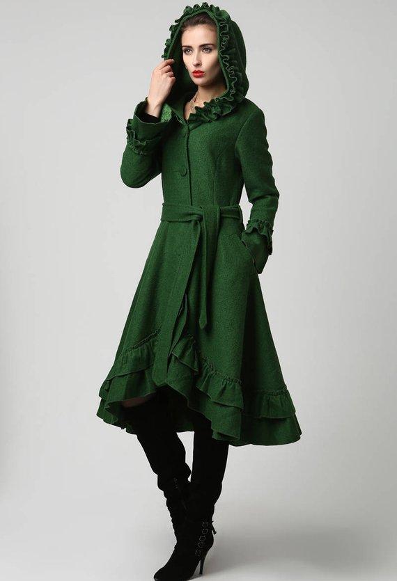 Green coat green hoodie coat wool coat winter coat womens | Etsy