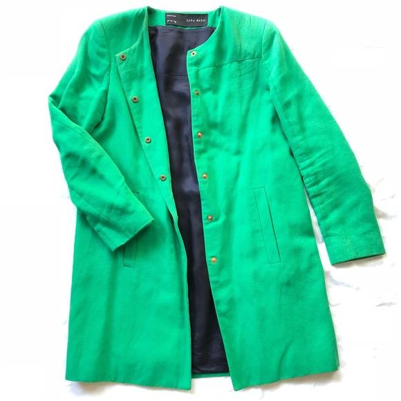Zara Jackets & Coats | Green Coat | Poshmark