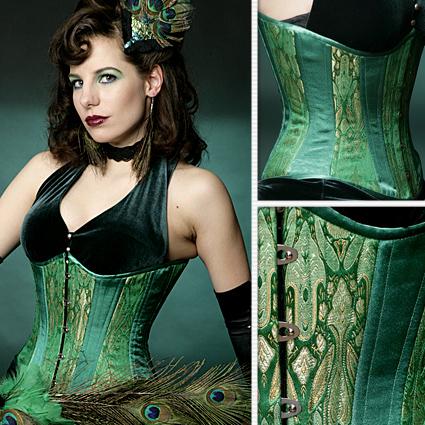 Emerald Green Brocade Slim Corset u2013 Lucy's Corsetry