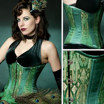 Emerald Green Brocade Slim Corset u2013 Lucy's Corsetry