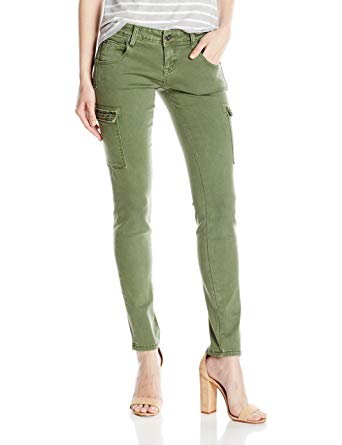 Grace in LA Women's Olive Green Cargo Skinny at Amazon Women's Jeans