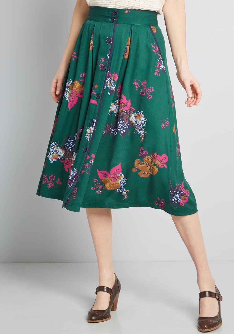 ModCloth Intelligent Involvement Midi Skirt Green Floral | ModCloth