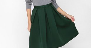 Chic Pleated Skirt - Flared Skirt - Green Skirt - $59.00