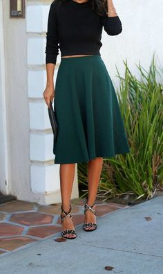8 Best Dark Green Skirt images | Green skirts, Casual wear, Fashion