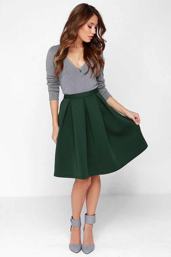 Be a sight of attraction with   trendiest designs of green skirt