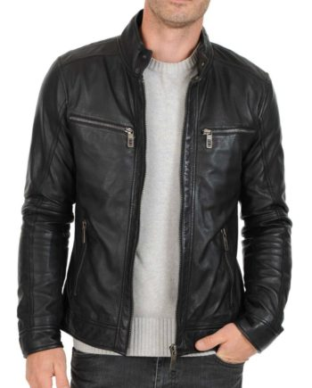men's fitted dark grey leather jacket with zipper pockets