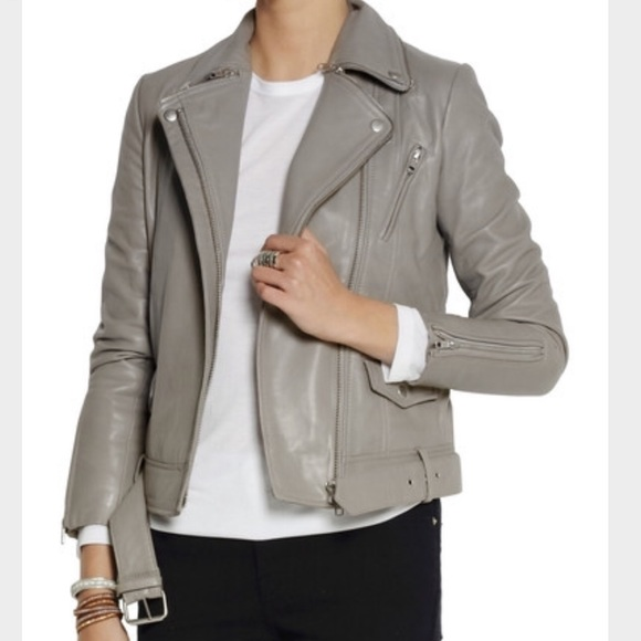 Maje Jackets & Coats | Grey Leather Biker Jacket | Poshmark