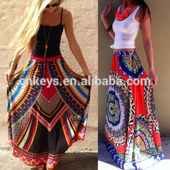 K1186a 2017 Fashionable Maxi Printed Skirt Slik Like Sari Long Gypsy