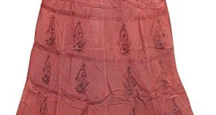 Mogul Interior Women's Maxi Skirt Pink Embroidered Stonewashed