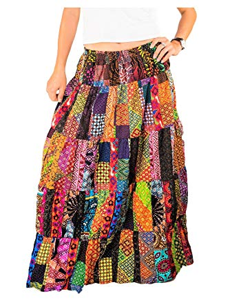 Patchwork Gypsy Skirt Tiered Maxi Long Cotton Boho Floral Flared