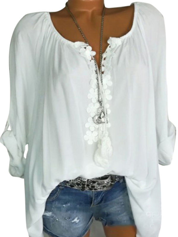 Boho Women Summer Plain Shirt Tops Long Sleeve Blouse Gypsy Beach T