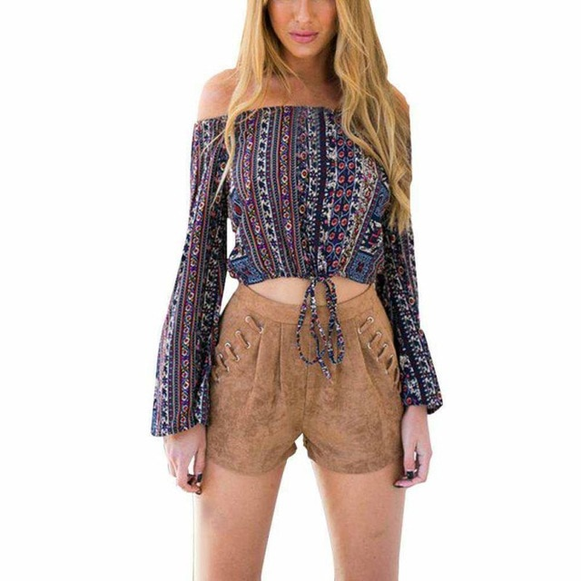 New Summer Style Women Blouses Sexy Print Shirt Tops Off Shoulder