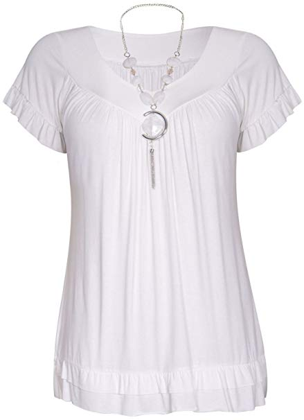Click Selfie Womens V-Neck Cream Frill Necklace Gypsy Tops at Amazon
