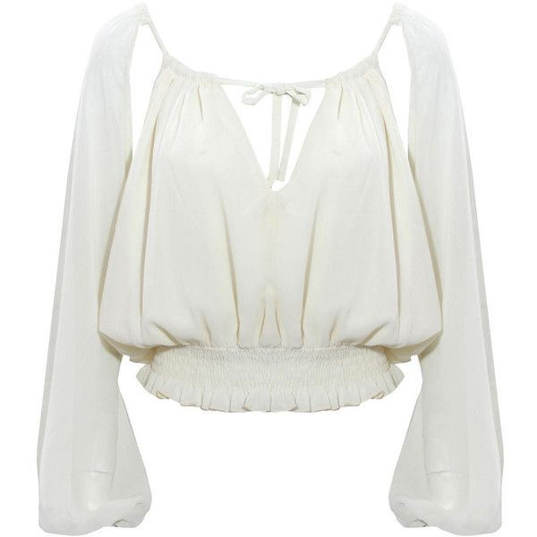 Sheer Cropped Gypsy Blouse ($15) ❤ liked on Polyvore featuring tops