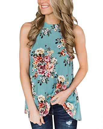 Amazon.com: Gogolan Women's High Neck Floral Print Tank Tops