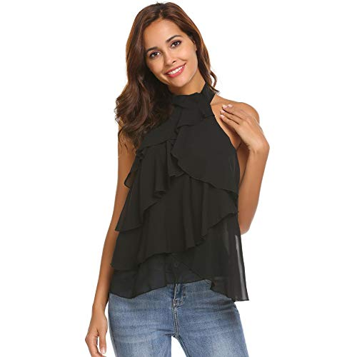 Sleeveless Halter Top Blouses: Amazon.com