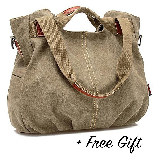 Buy Canvas Satchel Handbag with Free RFID Case in 7 Colors by Vista
