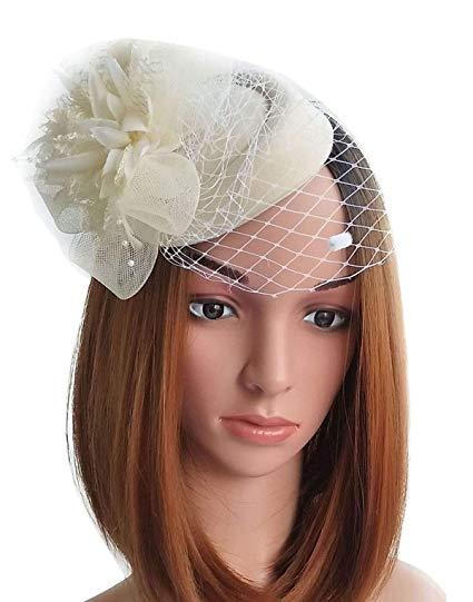 Fascinator Hats Pillbox Hat British Bowler Hat Flower Veil Wedding