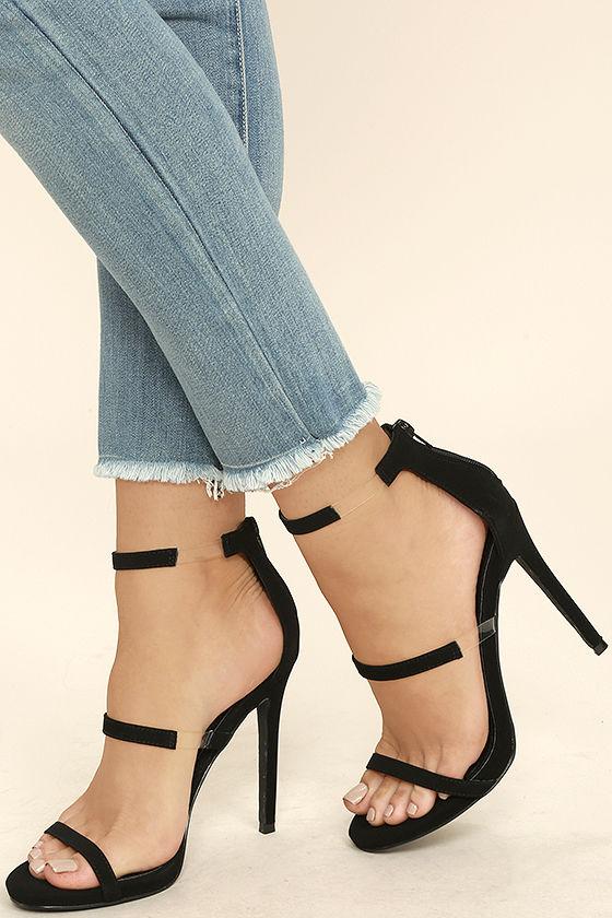 Chic Black Heels - Nubuck Heels - High Heel Sandals - Lucite Heels