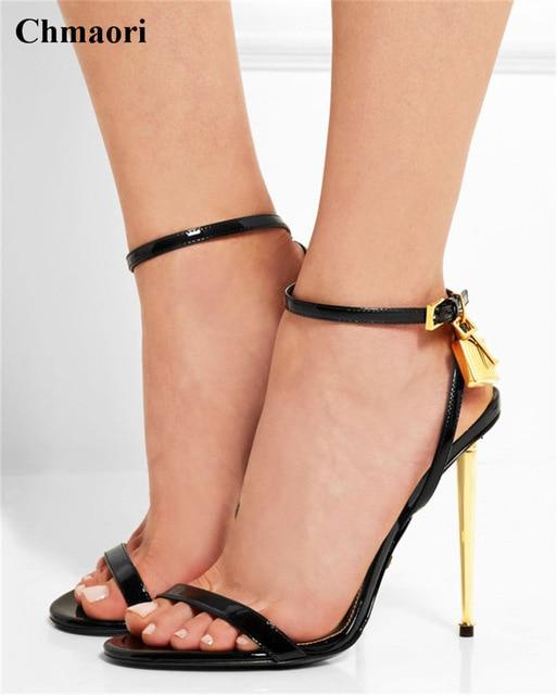 Women Summer New Fashion One Strap Lock Design High Heel Sandals