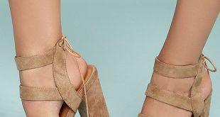 Beige High Heel Sandals - Vegan Suede Sandals - Block Heel