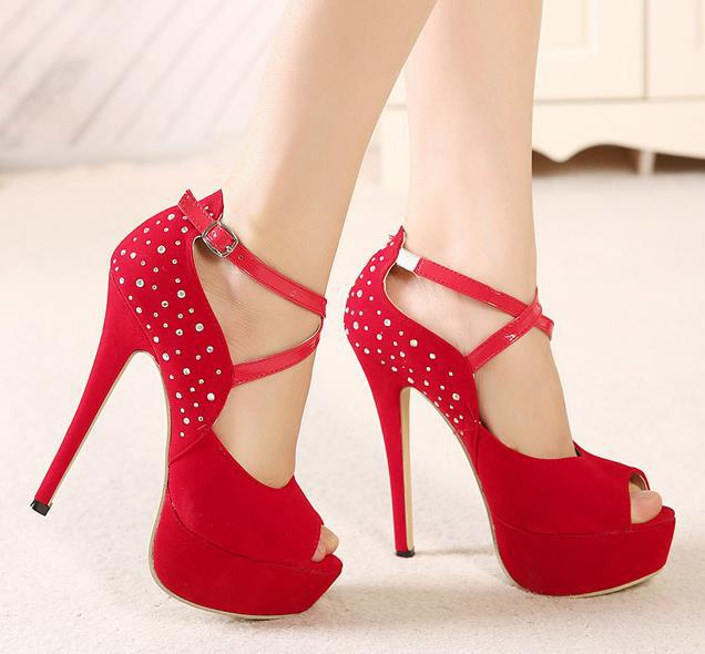 Stylish rhinestones peep toe thin heel women high heel sandals sexy