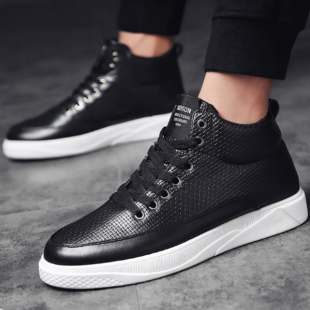 Men's Vulcanize Shoes fashion designer plaid sneakers men high top