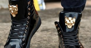 2018 Fashion High Top Casual Shoes For Men PU Leather Lace Up Red
