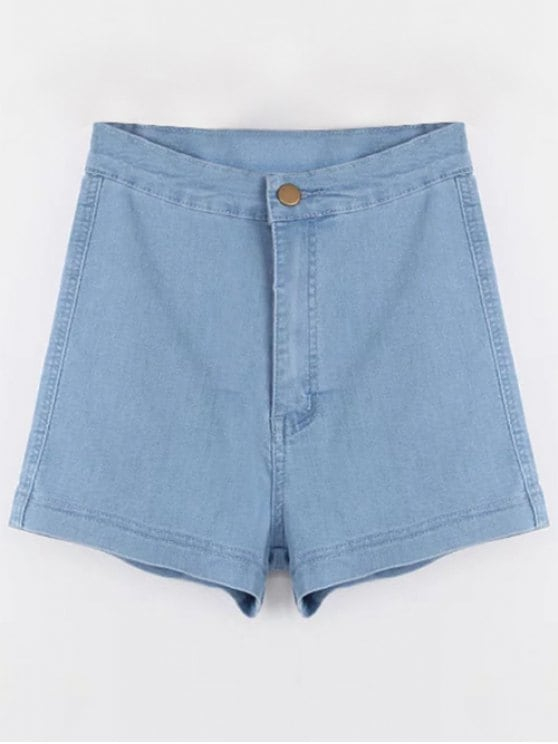 36% OFF] 2019 High Waisted Denim Shorts In LIGHT BLUE M | ZAFUL