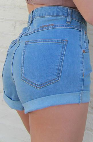 MINKPINK Showdown Rolled Cuff High Waisted Denim Shorts in Light