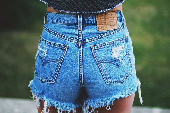 Trendy high waisted jean   shorts for women