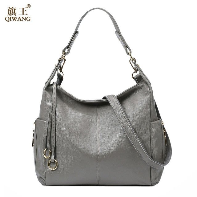QIWANG 100% Grey Genuine Leather Bag Women's Handbag Ladies Shoulder
