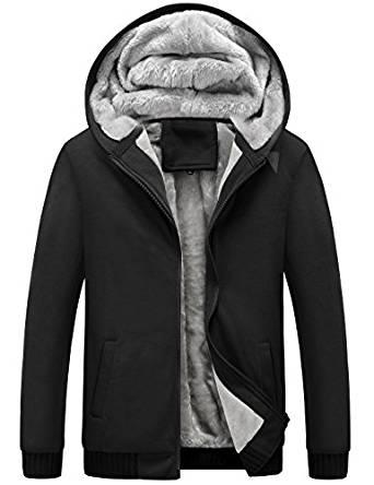 Yeokou Men's Winter Thicken Fleece Sherpa Lined Zipper Hoodie