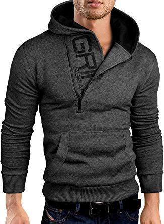 Grin&Bear Slim Fit half zip Hoodie Jacket embroidered Sweatshirt