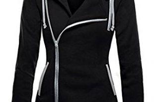 DJT Womens Oblique Zipper Slim Fit Hoodie Jacket at Amazon Women's