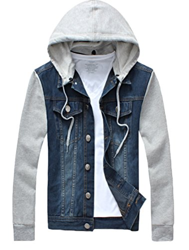 Amazon.com: Lavnis Men's Denim Hoodie Jacket Casual Slim Fit Button