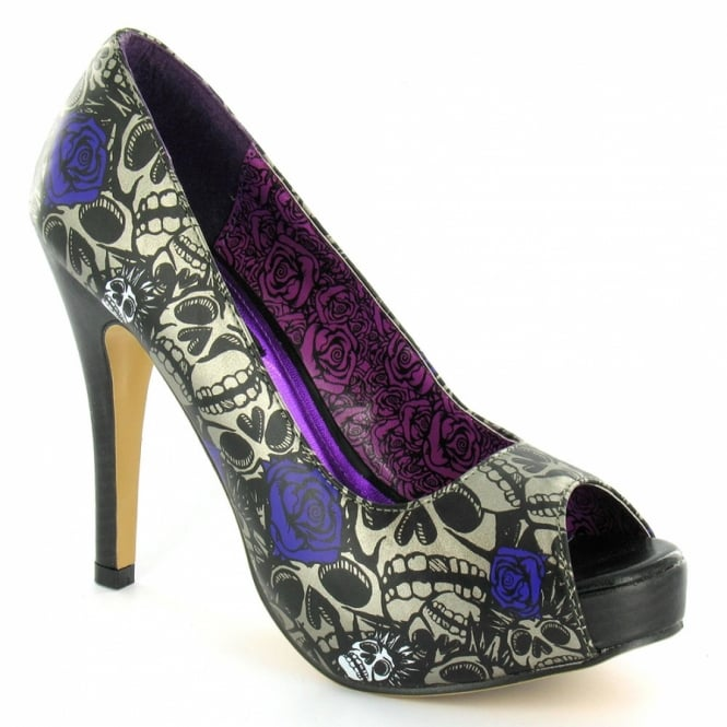 Iron Fist Muerte Punk Womens Platform Heels in Charcoal + Purple at