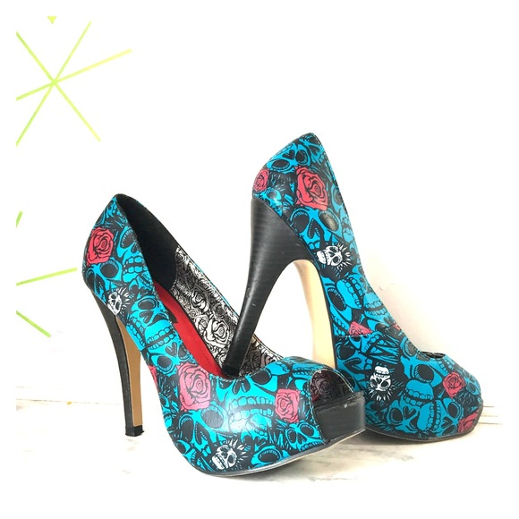 Iron Fist Shoes | Electric Blue Muerte Skull Heels | Poshmark
