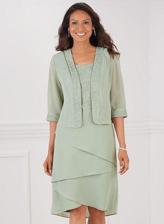 Maya Brooke® Tiered Jacket Dress | AmeriMark