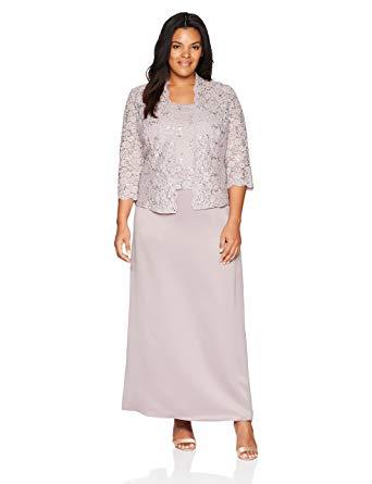 Alex Evenings Women's Plus-Size Two Piece Long Lace Jacket Dress at