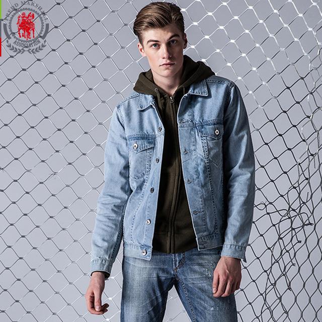 Fredd Marshall Winter Jacket Men Solid Color Slim Jean Jackets Mens