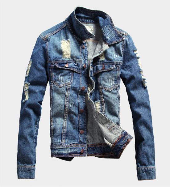 Fall Ripped Denim Jacket 2016 Men'S Winter Jean Jacket Men Vintage