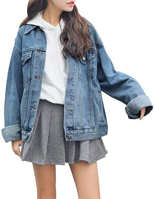 Women's Denim Jean Jacket Long Sleeve Slim Petite Outwear with