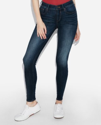 Mid Rise Dark Wash Jean Leggings | Express