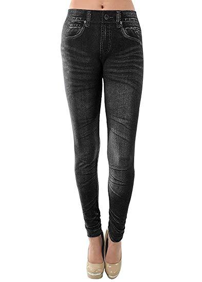 Ladies' Blue or Black Denim Look Stretchy Jean Leggings (One Size