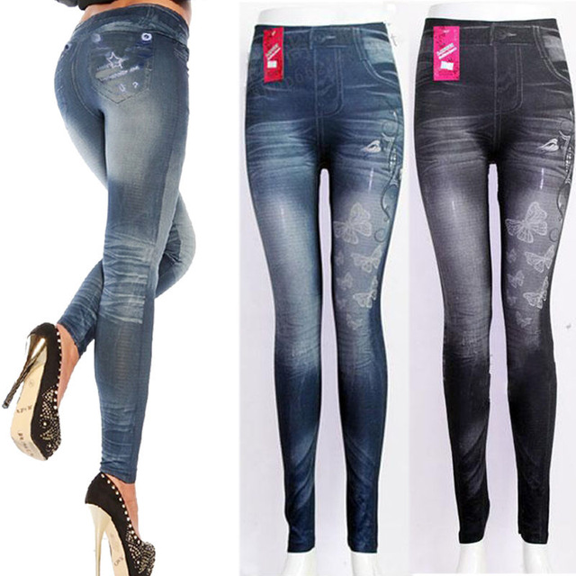 2017 New Spring Sexy Women Fake Denim Leggings Fashion Jeans Skinny